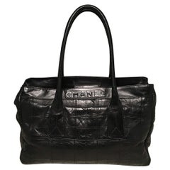 Chanel Black Leather Square Quilted Portfolio Shoulder Bag Tote