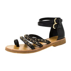 Chanel Black Leather Strappy Chain Flat Sandals Size 38