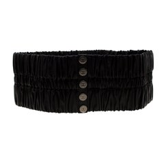 Chanel Black Leather Stretchable Waist Belt Size 95CM