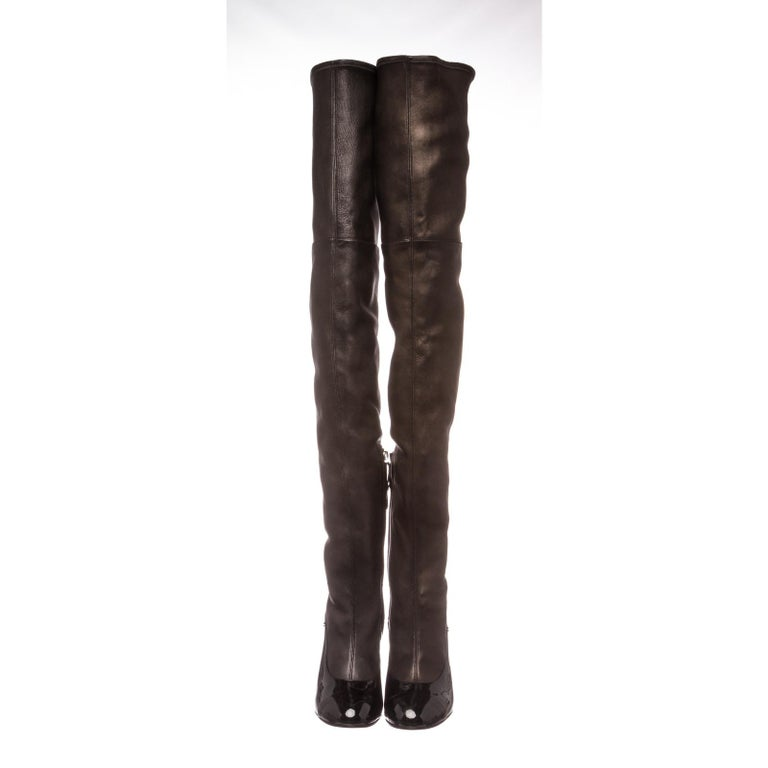 Chanel Black Leather Thigh-High Pearl Heel Boots Heels 38.5 In Good Condition For Sale In Irvine, CA
