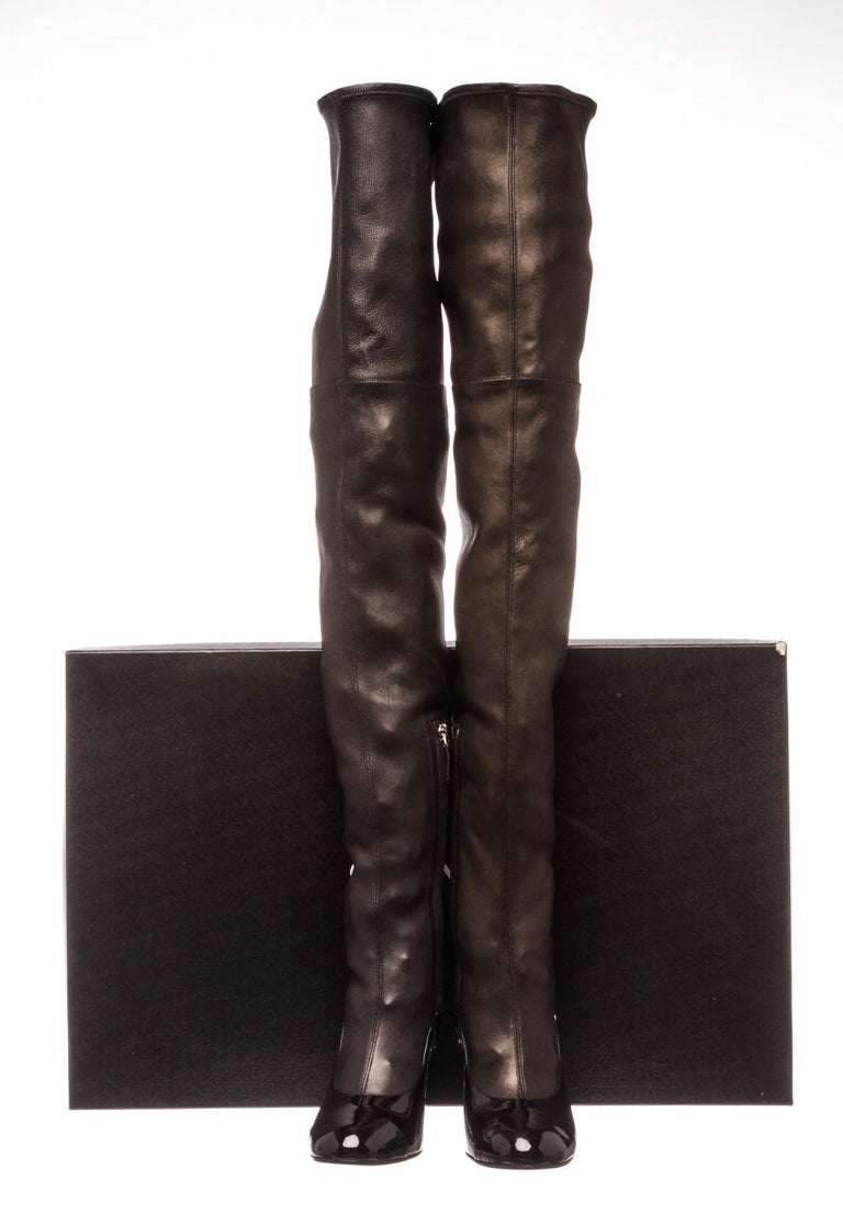 Chanel Black Leather Thigh-High Pearl Heel Boots Heels 38.5 For Sale 3