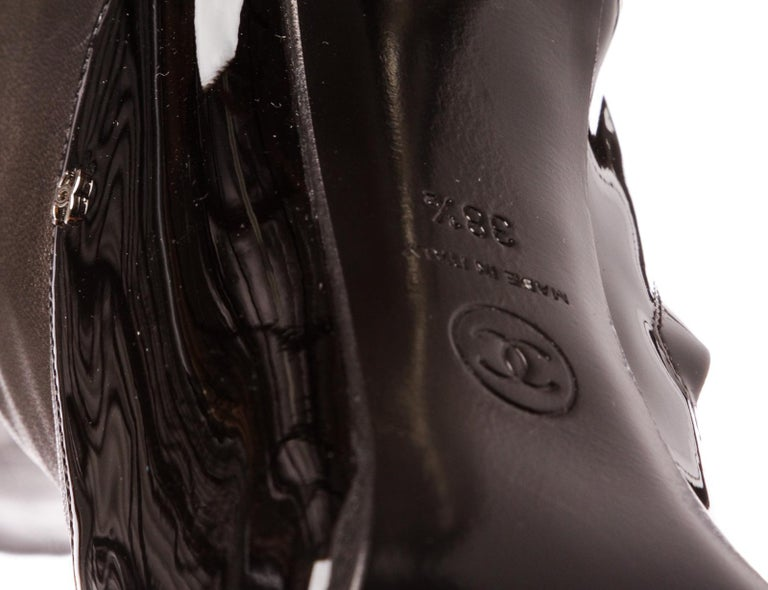 Chanel Black Leather Thigh-High Pearl Heel Boots Heels 38.5 For Sale 5
