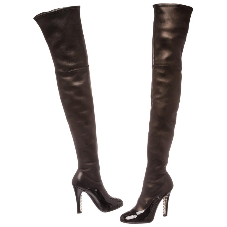 Chanel Black Leather Thigh-High Pearl Heel Boots Heels 38.5 For Sale