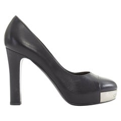 CHANEL black leather toe cap logo debossed metal plate platform chunky pump EU37
