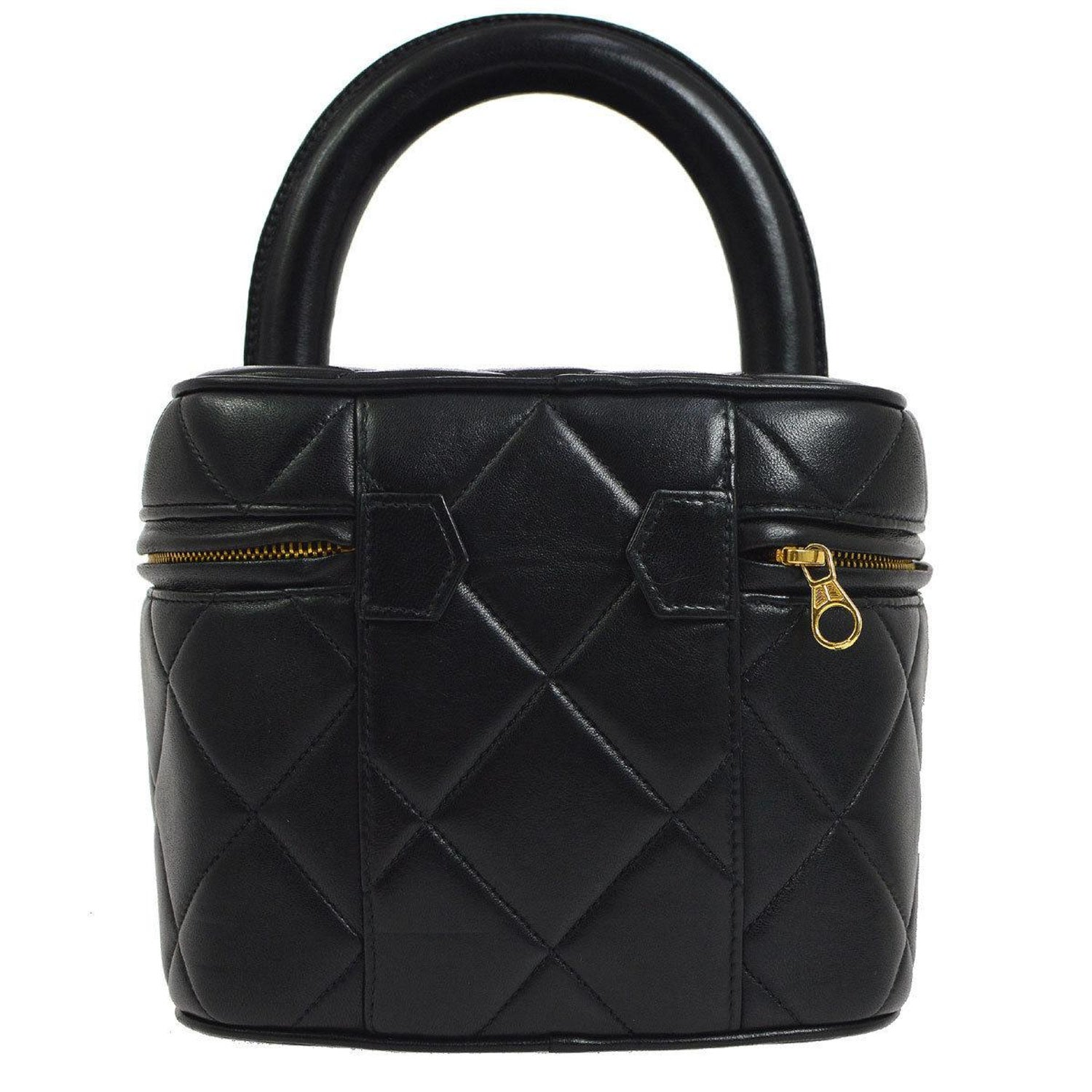 Chanel Black Leather Top Handle Evening Satchel Vanity Travel Zip Around Bag  For Sale at 1stdibs df3b48a3ff104