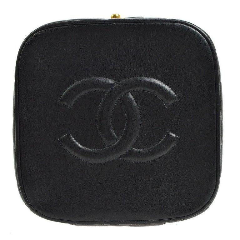 Women s Chanel Black Leather Top Handle Evening Satchel Vanity Travel Zip  Around Bag For Sale 02d00d119fb80