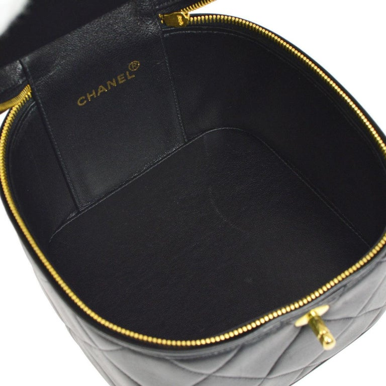 Chanel Black Leather Top Handle Evening Satchel Vanity Travel Zip Around Bag  For Sale 2 87cd244fd253a