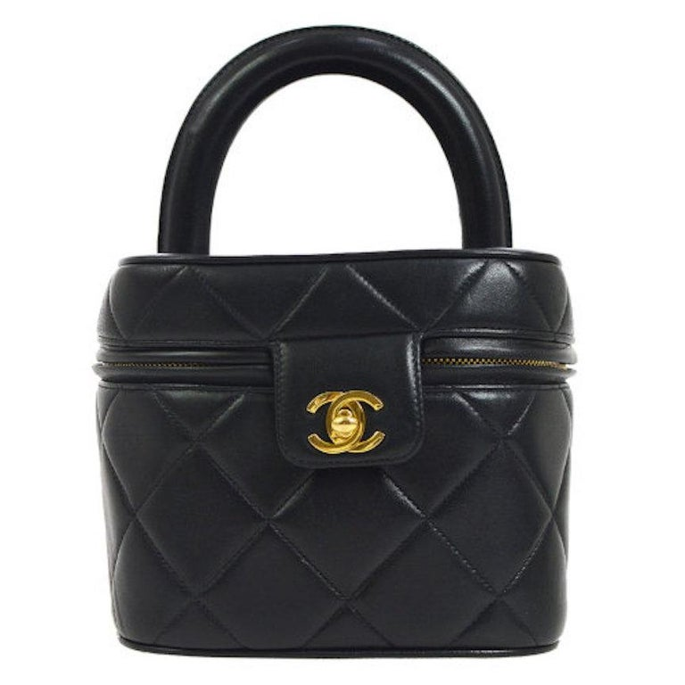 Chanel Black Leather Top Handle Evening Satchel Vanity Travel Zip Around Bag  For Sale af78e3a38bc54
