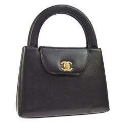 Chanel Black Leather Top Handle Satchel Kelly Style Small Party Evening Bag