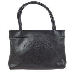 Chanel Black Leather Top Handle Satchel Shoulder Travel Shopper Tote Bag