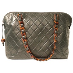 Chanel Black Leather Tortoise Chain Vintage Tote