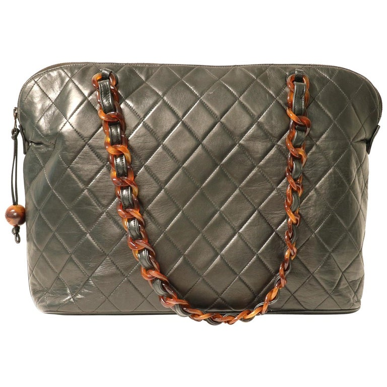 Chanel Black Leather Tortoise Chain Vintage Tote For Sale