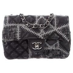 Chanel Black Leather Tweed Gunmetal Small Evening Shoulder Flap Bag