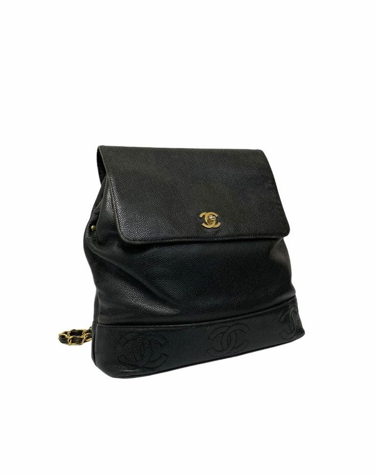 Chanel Black Leather Vintage Backpack  For Sale 1