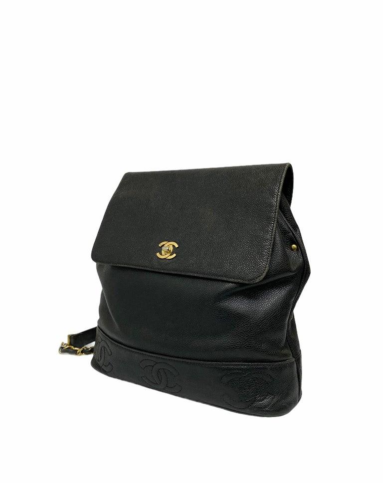 Chanel Black Leather Vintage Backpack  For Sale 2