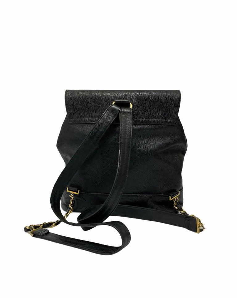 Chanel Black Leather Vintage Backpack  For Sale 3