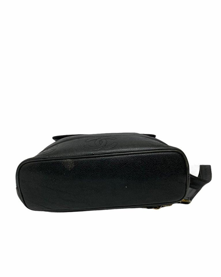 Chanel Black Leather Vintage Backpack  For Sale 4