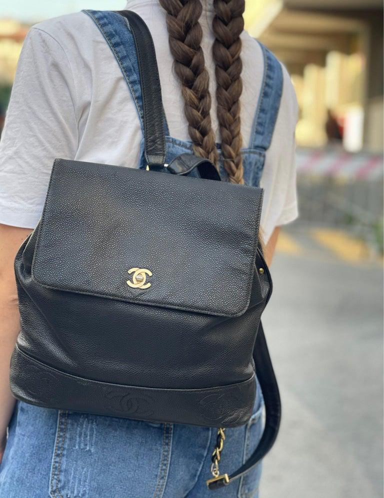 Chanel Black Leather Vintage Backpack  For Sale 5