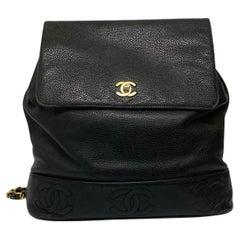 Chanel Black Leather Vintage Backpack
