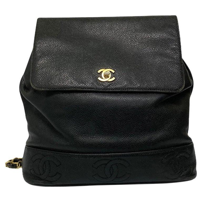 Chanel Black Leather Vintage Backpack  For Sale