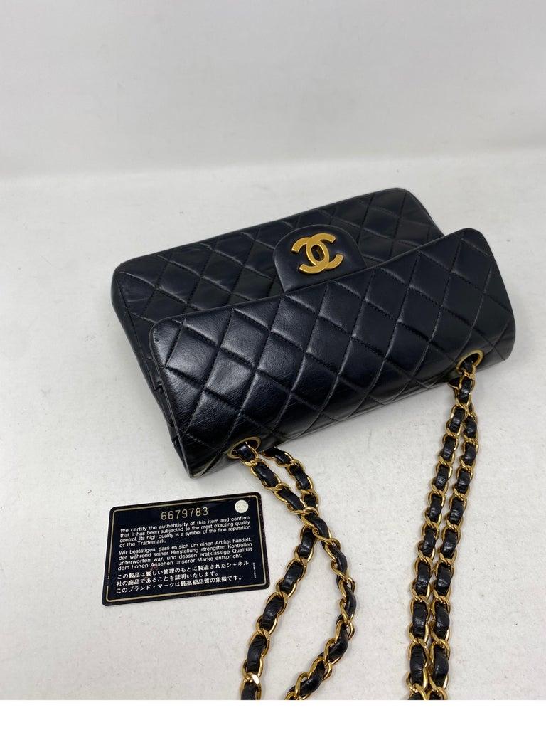 Chanel Black Leather Vintage Flap Bag  For Sale 8