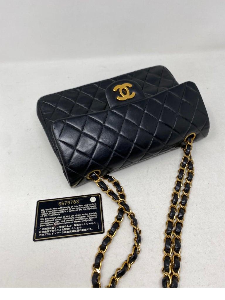 Chanel Black Leather Vintage Flap Bag  For Sale 9