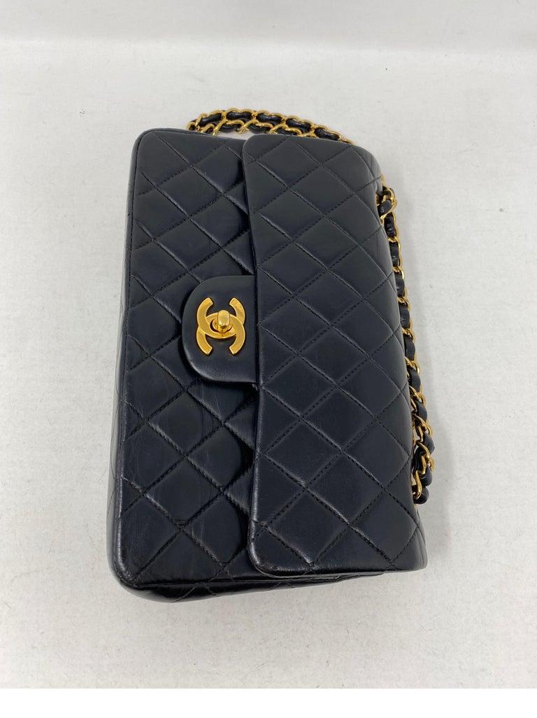 Chanel Black Leather Vintage Flap Bag  For Sale 3