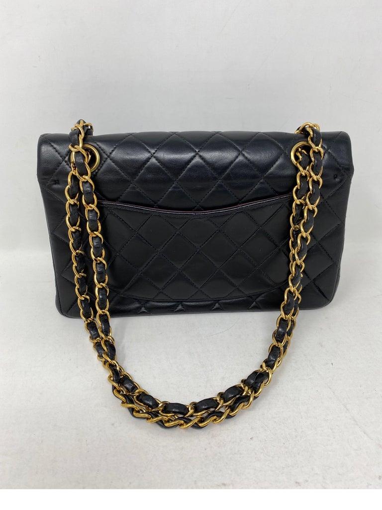 Chanel Black Leather Vintage Flap Bag  For Sale 4