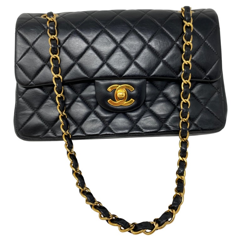 Chanel Black Leather Vintage Flap Bag  For Sale