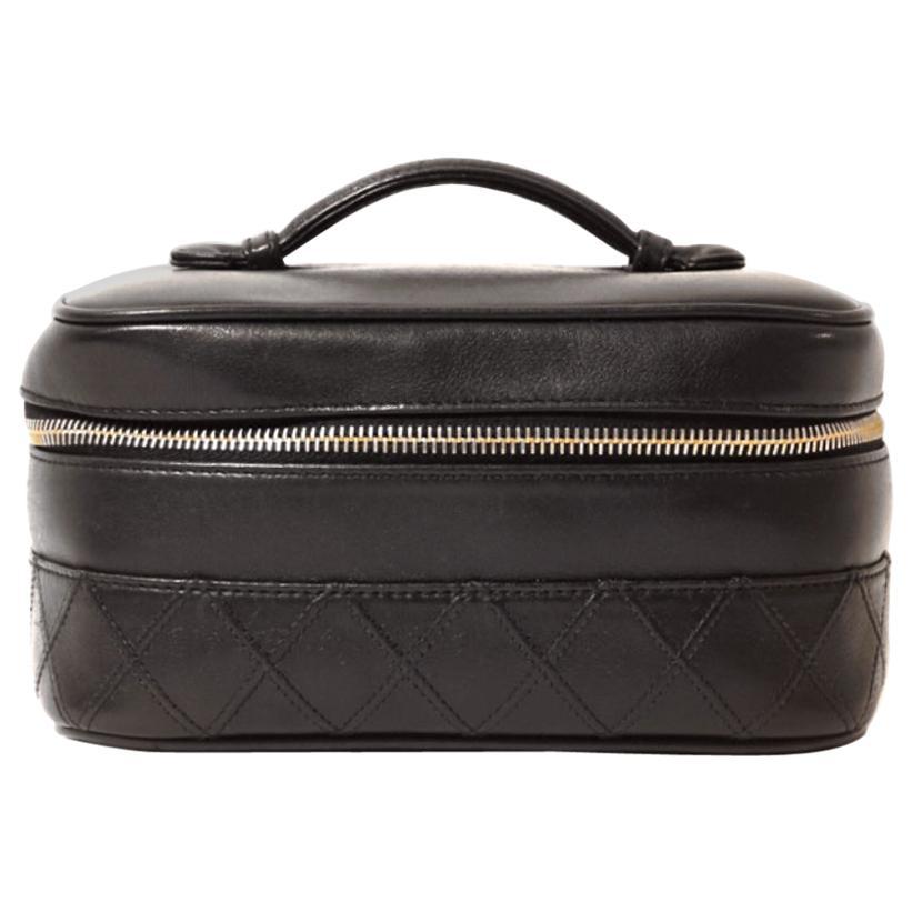 Chanel Black Leather Vintage Vanity Case