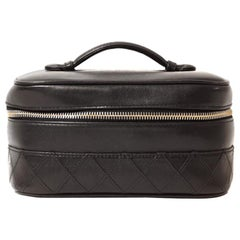 Chanel Black Leather Vintage Vanity Case