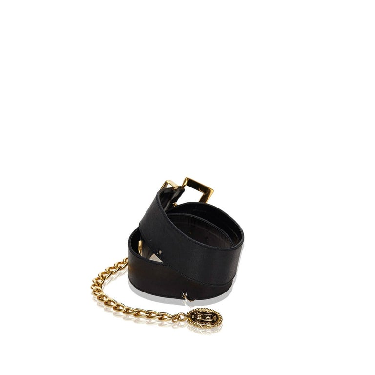 Chanel Black Leather Waist Strap Gold-Toned Buckle and Chain Belt with Medallion For Sale 2