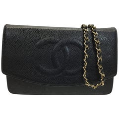 Chanel Black Leather Wallet on Chain Crossbody