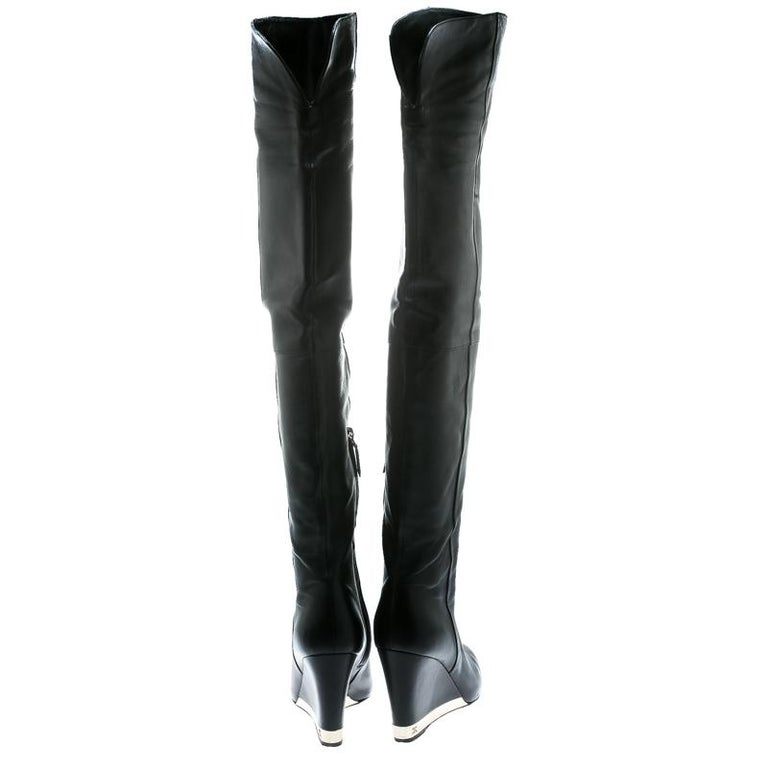 Chanel Black Leather Wedge Heel Over The Knee Boots Size 39.5 In Good Condition For Sale In Dubai, Al Qouz 2