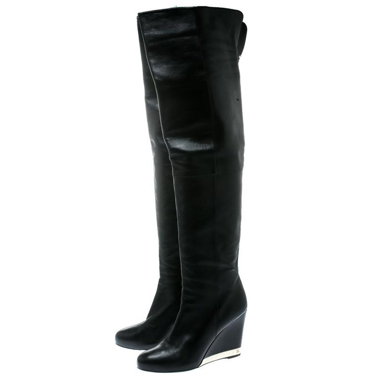 Chanel Black Leather Wedge Heel Over The Knee Boots Size 39.5 For Sale 3