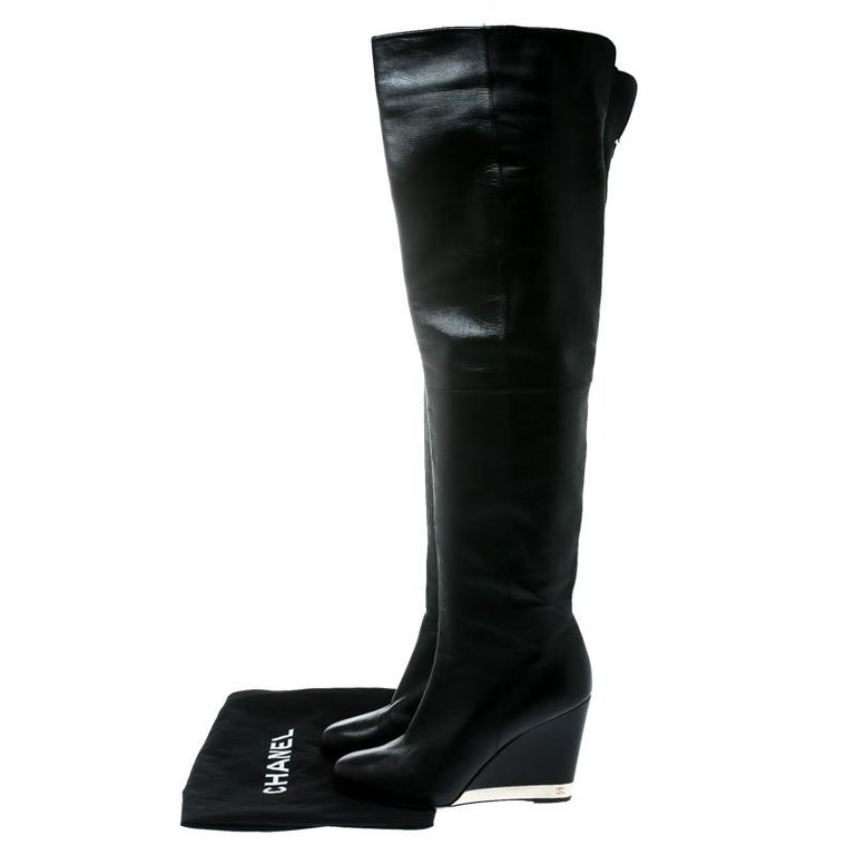 Chanel Black Leather Wedge Heel Over The Knee Boots Size 39.5 For Sale 4