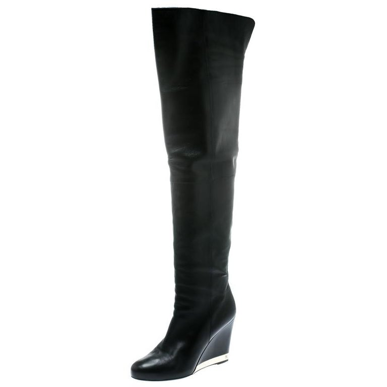 Chanel Black Leather Wedge Heel Over The Knee Boots Size 39.5 For Sale