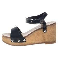 Chanel Black Leather Wedge Platform Sandals Size 37