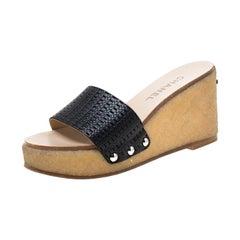 Chanel Black Leather Wedge Platform Slides Size 37