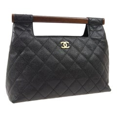 Chanel Black Leather Wood Bar Top Handle Satchel Evening Clutch Bag