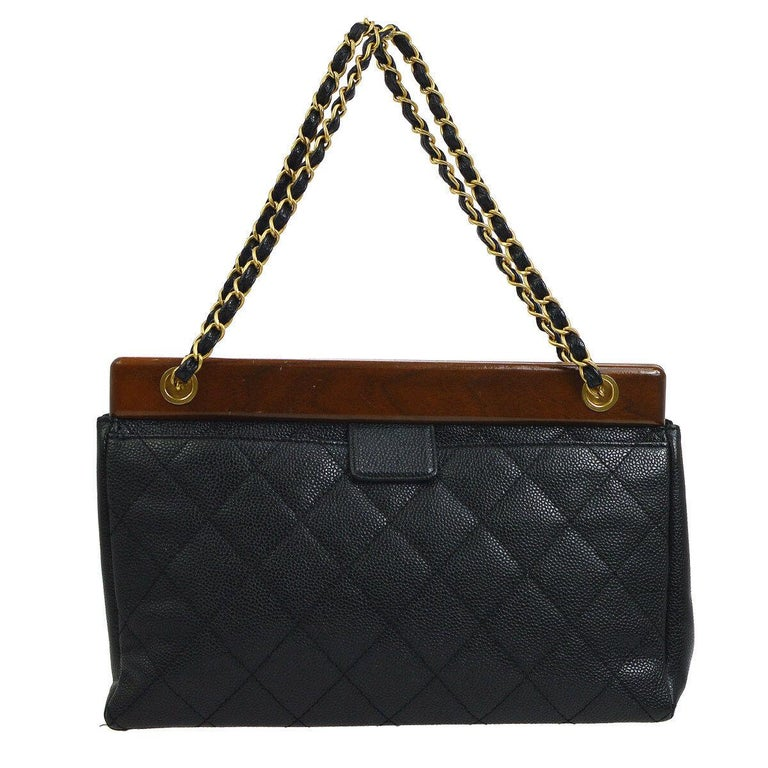 Chanel Black Leather Wood Gold Evening Shoulder Flap Bag In Good Condition For Sale In Chicago, IL