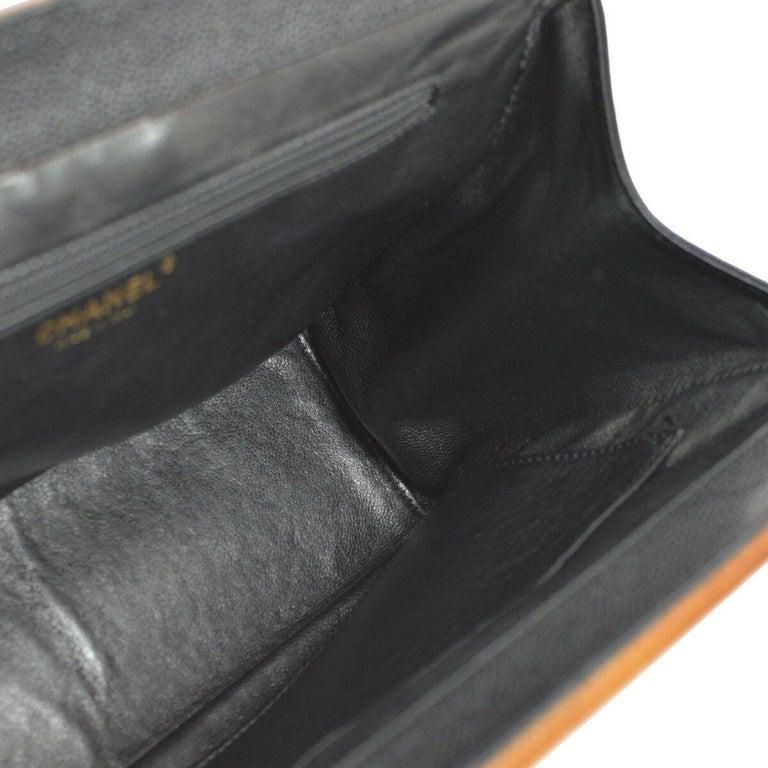 Chanel Black Leather Wood Gold Evening Shoulder Flap Bag For Sale 1