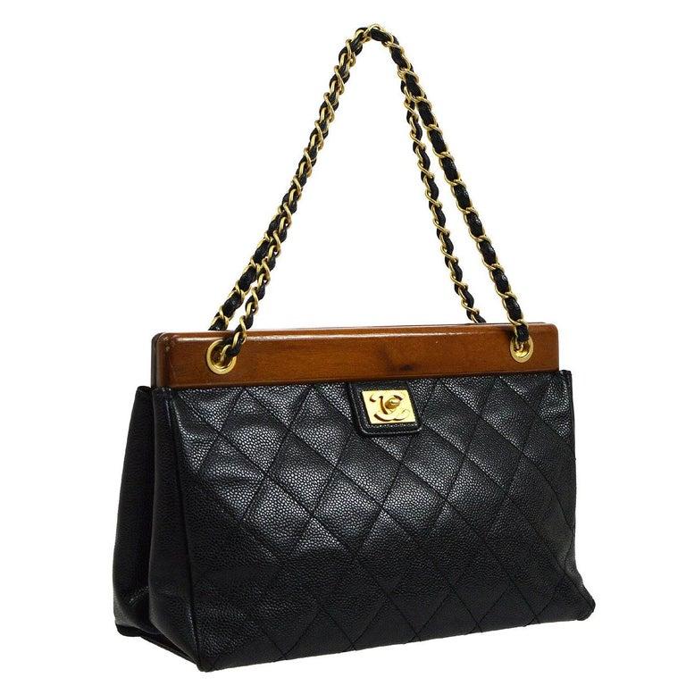 Chanel Black Leather Wood Gold Evening Shoulder Flap Bag For Sale