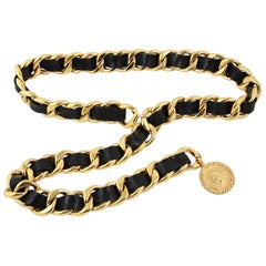 Chanel Black Leather Woven Gold Chain Belt