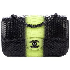 Chanel Black Lime Green Python Leather Exotic Small  Evening Shoulder Flap Bag