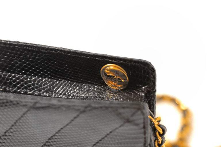 Chanel Black Lizard Chevron Vintage Bag In Excellent Condition In Palm Beach, FL