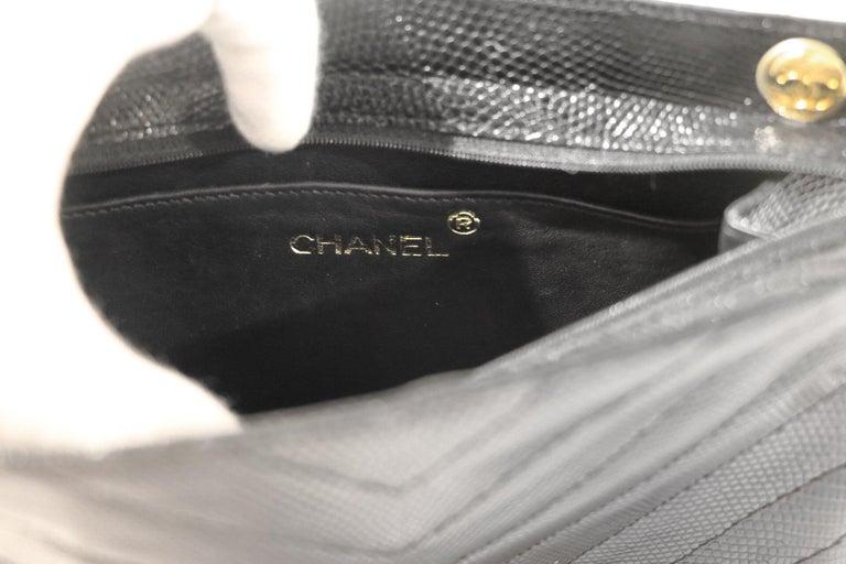 Women's Chanel Black Lizard Chevron Vintage Bag