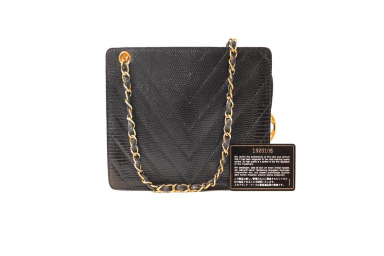 Chanel Black Lizard Chevron Vintage Bag 1
