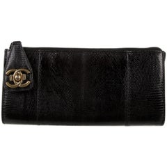 Chanel Black Lizard Exotic Gold CC Charm Small Envelope Evening Clutch Bag