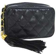 Chanel Black Lizard Exotic Leather Gold Tassel Small Evening Clutch Bag